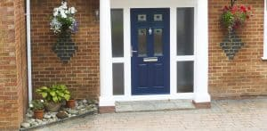 Blue entrance door from the outside