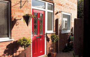 Lewes composite entrance door berry red