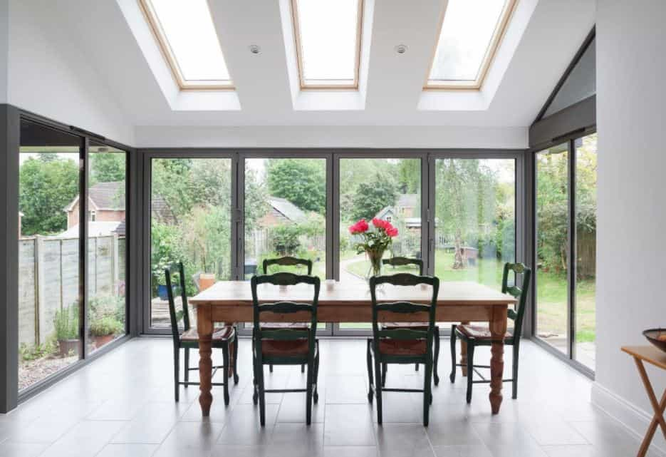 Bifold doors walls of glass