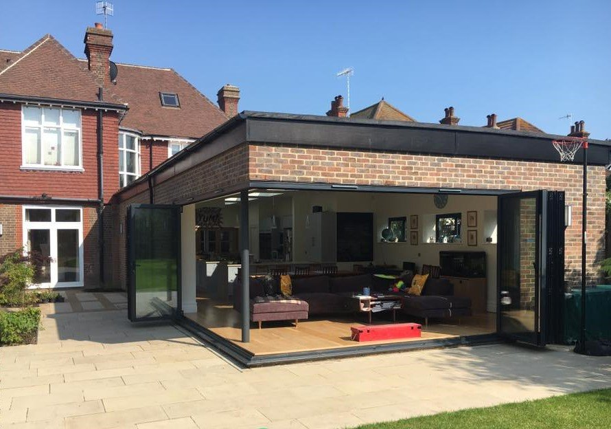 aluminium bifold doors open plan extension