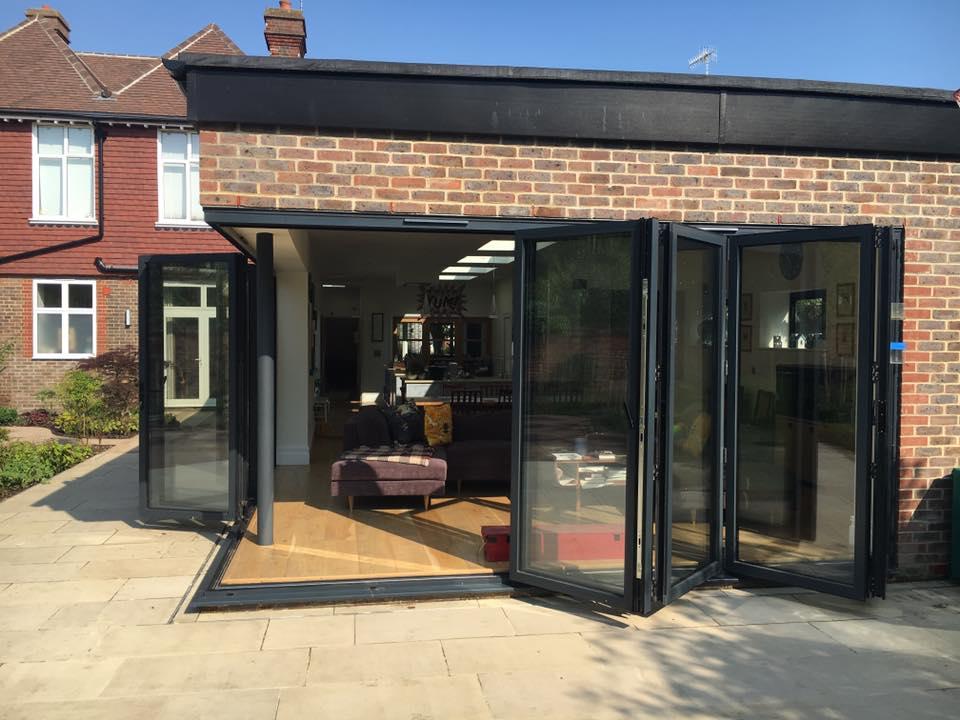 Cornerless bifold doors Bowalker Doors Surrey Sussex