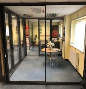 Sliding doors in showroom