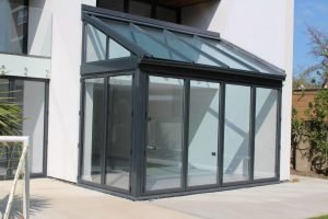 Aluminium bifold doors and window extension