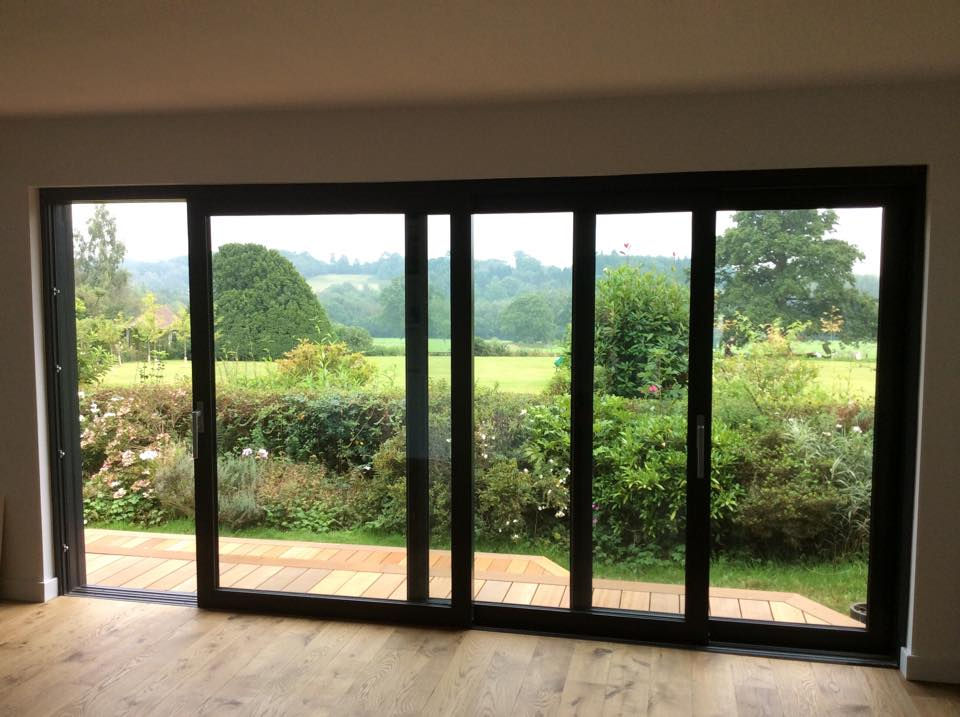Sliding doors partially open with a view
