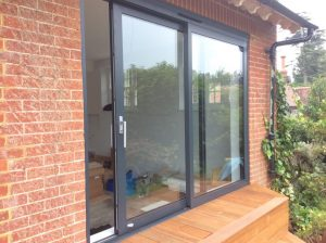 Sliding doors with silver handles