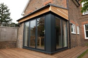 Bifold doors closed on extension