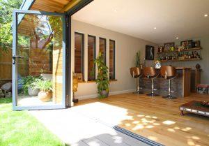 Buddha garden room with open bifold doors