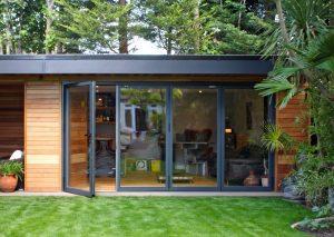 Buddha Garden room with grey bifold doors