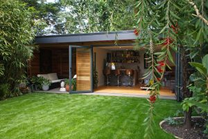 View of Garden with Garden room and bifold doors
