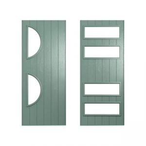 2 green doors