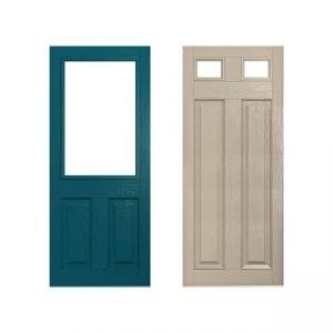 green and beige doors