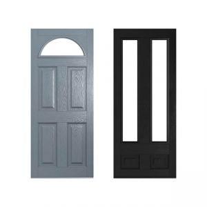 Grey and black doors