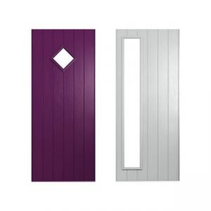 Purple and white door