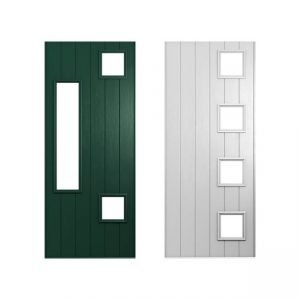 white and green doors