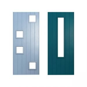 Blue and dark green doors