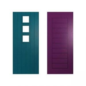 dark blue and purple doors