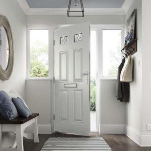 Classical light grey scaled Hallmark door